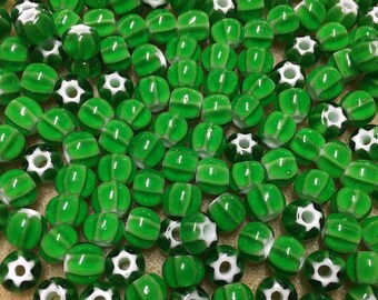 32/0 Green Preciosa Ornela Star Cornelian Rocaille Seed Beads 6x7mm 20 pcs