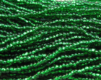 11/0 Green Silver Lined Genuine Preciosa Rocaille Czech Glass Seed Beads 18 grams