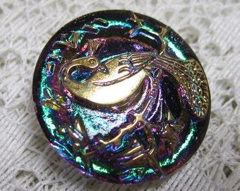 Green Gold Peacock Button with Metal Loop Shank Czech Glass Button 22mm