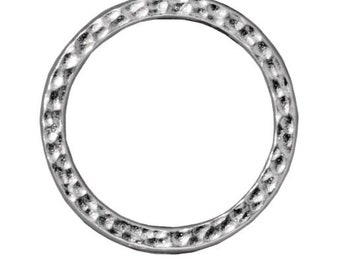 Extra Large Hammertone Flat Closed Ring TierraCast Rhodium Plated Bright Finish Lead Free Pewter 25mm F379B