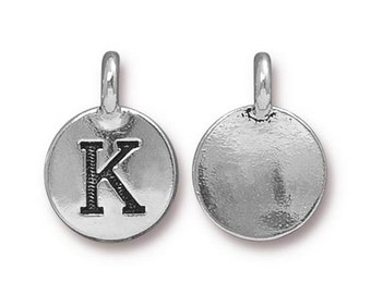 "Letter ""K"" Initial Pendant Tiny Silver Charm TierraCast Antique Silver Alphabet Charms TierraCast Lead Free Pewter 16.5x11.5mm One Charm"