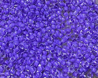 11/0 Crystal Neon Purple Miyuki Glass Seed Beads 6 inch tube 28 grams #222A