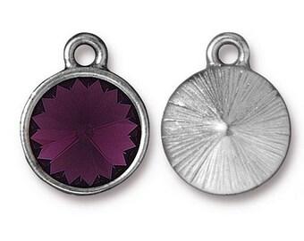 Amethyst Purple Birthstone Pendant Charm Rhodium Silver TierraCast Charm Lead Free Pewter with Swarovski Rhinestone 18.25x14.25mm One Charm