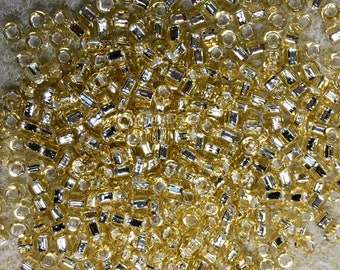 8/0 Light Gold Silver Lined Japanese Glass Rocaille Seed Beads 6 Inch tube 28 grams #3