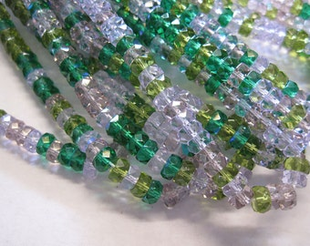 Rondelles Lavender Garden Mix Czech Glass Fire polished Faceted Crystal Rondel Beads 3mm x 6mm