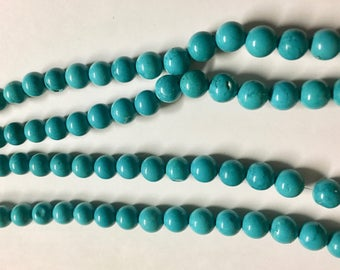 White Howlite Dyed Turquoise Blue Howlite Gemstone 6mm Rounds 8 inch strand Approx. 31 beads
