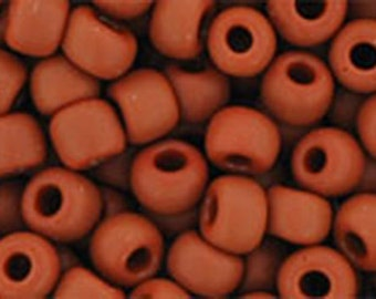 6/0 Opaque Frosted Terra Cotta Toho Glass Seed Beads 2.5 inch tube 8 grams TR-06-46LF