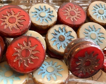 Sun Beads Chunky Coin Carved Czech Pressed Glass Table Cut Beads Choose Red Copper or Beige Turquoise