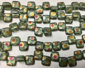 Olive Green Peacock CzechMates Two Hole Tile Beads Czech Pressed Glass Square Beads 6mm 25 beads