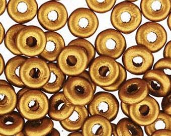 O Beads Brass Gold Czech Glass Donut Ring Beads 3.8x1mm 8.1 grams