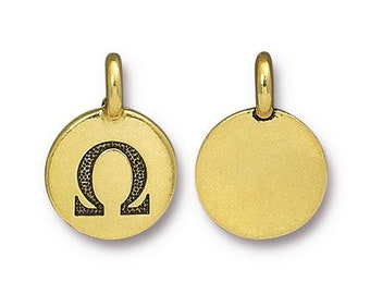 Omega Greek Letter Pendant Tiny Gold Charm TierraCast Antique Gold Greek Letter Charm TierraCast Lead Free Pewter 16.5x11.5mm One Charm