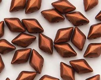 GemDuo Bronze Fire Red Two Hole Gem Duo Czech Glass Beads 5x8mm 65 beads