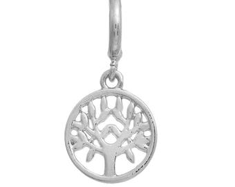Tree of Life Charms Cut Tree Silver Plated Copper with Bail 31mm x 15mm 2 pcs F441