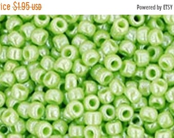 ON SALE 11/0 Opaque Lustered Sour Apple Green Toho Glass Seed Beads 2.5 inch tube 8 grams TR-11-131