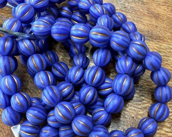 8mm Melon Beads Indigo Metallic Brown Czech Pressed Glass Round Corrugated Melon Beads 8mm 20 beads