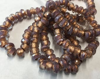 Lavender Metallic Copper Lined Czech Pressed Glass Large Hole Faceted Roller Beads 6mm x 9mm 25 beads