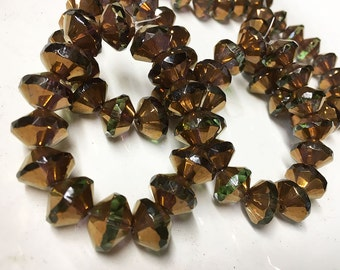 Olive Green with Metallic Gold Finish Carved Czech Glass Saucer Beads 13mm x 9mm