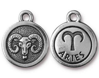 Aries Zodiac Antique Silver Charm TierraCast Zodiac Sign Astrology Charm Lead Free Pewter 18.75x15.75mm One Charm