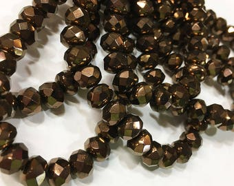 Antique Copper Czech Pressed Glass Large Faceted Rondelles 6mm x 8mm