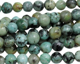 African Turquoise 4mm Gemstone Rounds Approx 50 beads 8 Inch strand