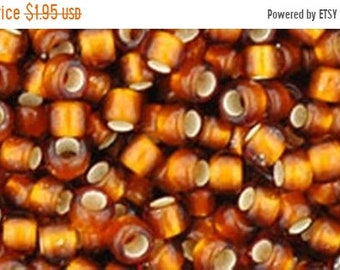 ON SALE 8/0 Silver Lined Frosted Smoky Topaz Toho Glass Seed Beads 2.5 inch tube 8 grams TR-08-34F