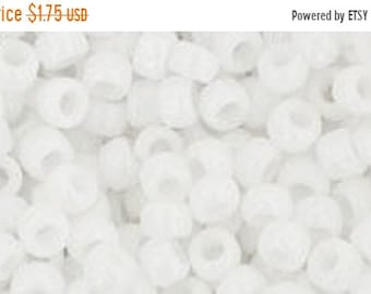 ON SALE 8/0 Opaque  White Toho Glass Seed Beads 2.5 inch tube 8 grams TR-08-41