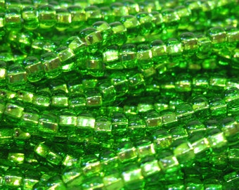 6/0 Light Green Silver Lined Genuine Czech Glass Preciosa Rocaille Seed Beads