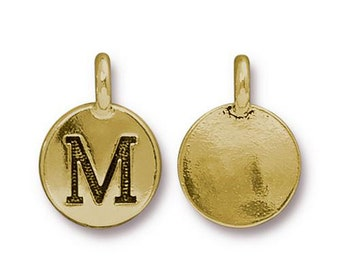 "Letter ""M"" Initial Pendant Tiny Gold Charm TierraCast Antique Gold Alphabet Charms TierraCast Lead Free Pewter 16.5x11.5mm One Charm"