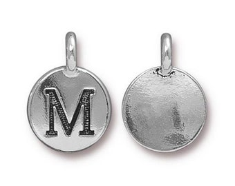 "Letter ""M"" Initial Pendant Tiny Silver Charm TierraCast Antique Silver Alphabet Charms Lead Free Pewter 16.5x11.5mm One Charm F291"