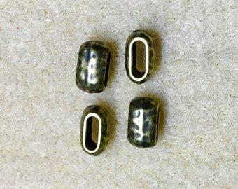 Distressed 6x2mm Hammertone Barrel Bead Oxidized Brass Plate TierraCast Leather Crimp Beads 4 pcs