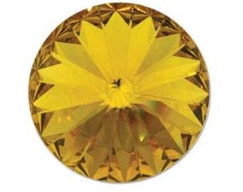 10mm Swarovski 1122 Sunflower Faceted Foil Back Rivoli 47ss 2 pcs