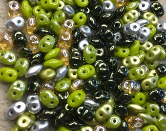 Super Duo Rainforest Mix Pressed Glass Two Hole Beads 2.5mm x 5mm 12 grams