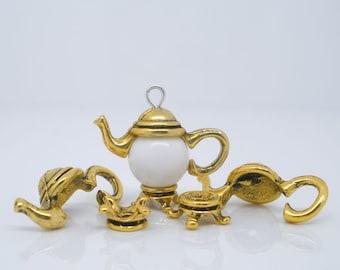 Teapot Bead Caps Gold Tone Antique Gold Fits 10mm Beads 21mm x 7mm 5 sets F485B