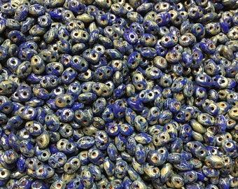 Blue Picasso Czech Pressed Glass Super Duo Two Hole Seed Beads 2.5mm x 5mm 12 grams