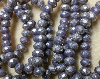 Purple Mercury Czech Pressed Glass Medium Faceted Rondelles 5mm x 7mm 25 beads