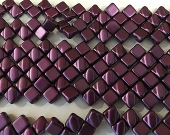 Pastel Bordeaux Two Hole Silky Czech Pressed Glass 6mm Two Hole Angled Square Beads 40 pcs