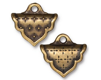 Marrakesh Crimp End TierraCast Oxidized Brass Finish for Loom or Stitched Beadwork 19x17mm 2 pcs