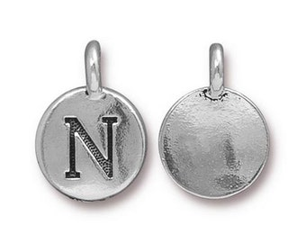 "Letter ""N"" Initial Pendant Tiny Silver Charm TierraCast Antique Silver Alphabet Charms Lead Free Pewter 16.5x11.5mm One Charm F291"