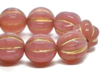 Melon Beads Czech Dusty Rose Pink with Gold Wash Pressed Glass Round Corrugated Melon Beads 10mm 15 beads