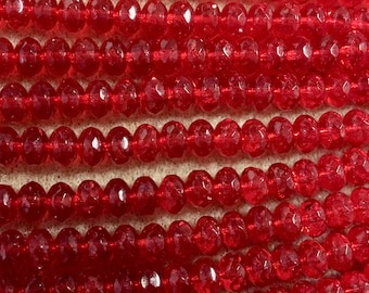 Siam Ruby Red Transparent Czech Pressed Glass Large Faceted Rondelles 6mm x 9mm