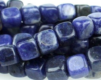 Sodalite 7mm Gemstone Cubes Approx 27 beads 8 Inch strand