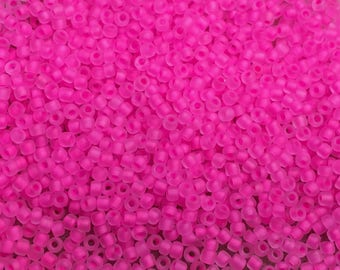 11/0 Frosted Neon Pink Miyuki Glass Seed Beads 6 inch tube 28 grams #F207A
