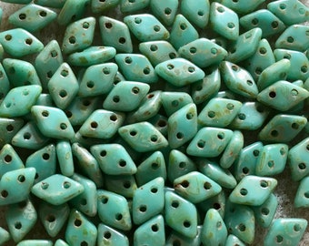 Turquoise Picasso Opaque Two Hole Czech Mates Czech Glass Diamond Beads 4x6.5mm 8.35grams