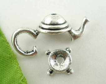 Teapot Bead Caps Antique Silver Fits 10mm Beads 21mm x 11mm 5 sets F485