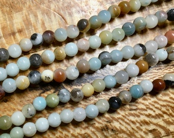 Amazonite Black Gold Gemstone Smooth Rounds 2mm Large Hole Beads 6mm Approx 32 pcs per 8 inch strand