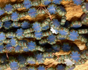 25 Cactus Flower Cornflower Blue Czech Pressed Glass Flat Flower Beads with Picasso Edges 9x3mm