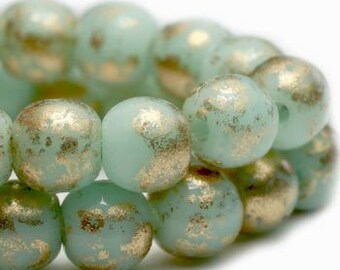 Round Druk Beads 4mm Mint with Gold Finish Czech Pressed Glass Rounds 50 beads