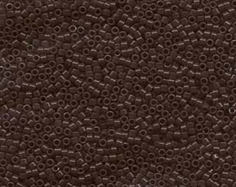 11/0 Miyuki Delica Opaque Chocolate Brown Glass Seed Cylinder Beads 7.2 grams DB0734