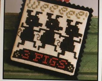3 Little Pigs Mini Cross Stitch Sampler Pattern The Prairie Schooler 2014
