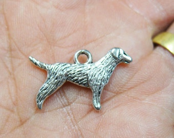 Clearance Dog Charms Antique Silver Tone Double Sided Dogs Charm 15mm x 24mm 10 pcs C153